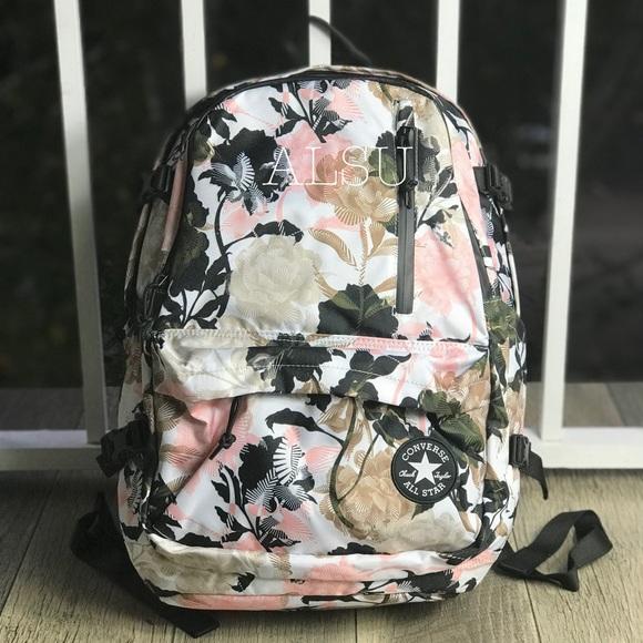 Conv Straight EDGE Backpack Beige Pink Flowers W NWT